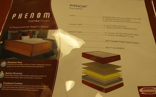 A close up of the information on a Simmons Comforpedic Phenom showing it's similarity to the Loft.