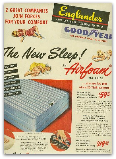 Ad from the 50's showing rubber latex in Englander mattresses.