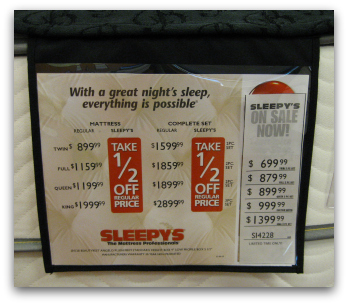 Price tag for a Simmons mattress at Sleepy's.