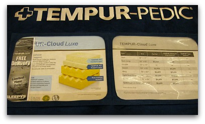 The brochure from Sleepy's showing the info for the Tempurpedic Cloud Luxe.