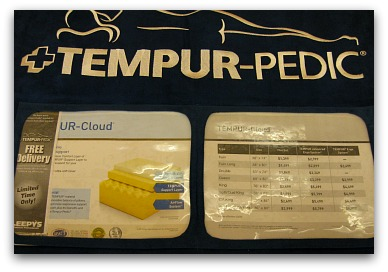 Brochure found on a Tempurpedic Cloud model in the store.
