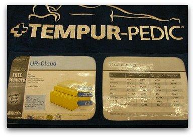 Brochure found on a Tempurpedic Cloud model in the store.